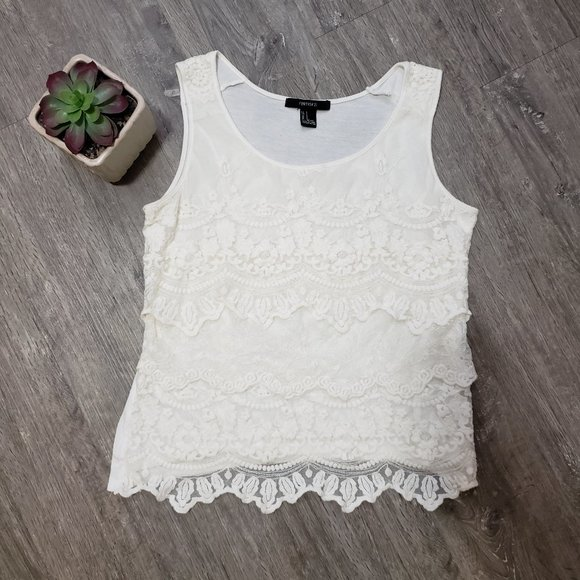 Forever 21 * Layered Lace Front Tank Top * Sz S
